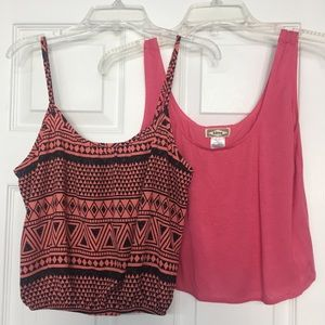 Cropped tank tops coral and orange southwest print